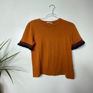 Zara Trafaluc Orange Crop Top with Ruffled Sleeves